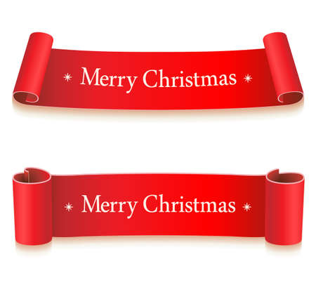 Red Ribbons for christmas, new year on white background. Holiday Flag icon. Vector illustration.