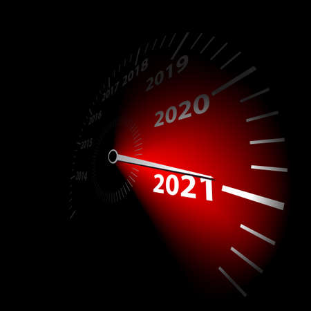 Speedometer with the calendar date new year 2021. Vector illustration. Çizim