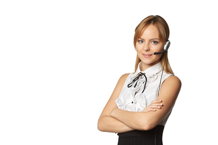 headset woman: Telemarketing headset woman call center operator smiling talking in hands free headset device, isolated on white background Stock Photo