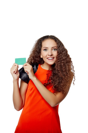 thumbup: Happy smiling girl showing blank credit card, on white background! Stock Photo