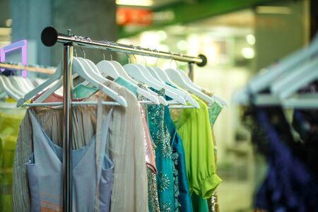 resale: Female clothes in a fashion shop