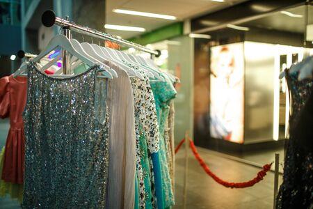 resale: Female clothes in a fashion shop