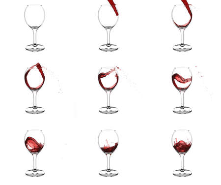 Nine stages of pouring red wine into wine glasses with beautiful curls  and splashes on white background
