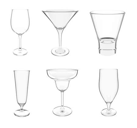 Six types of different cocktail empty glasses on white background