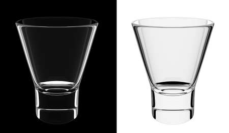 shorter: An isolated empty shorter glass on black and white backgrounds