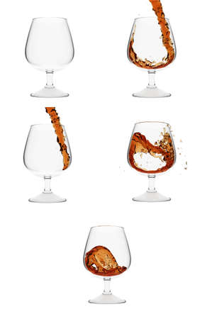 Five cognac glasses showing process of pouring liquid into it on white background photo