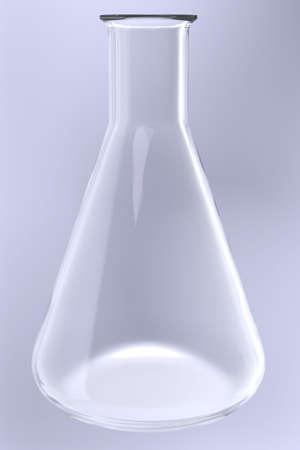 retort: One empty glass chemical laboratory retort on light gray background