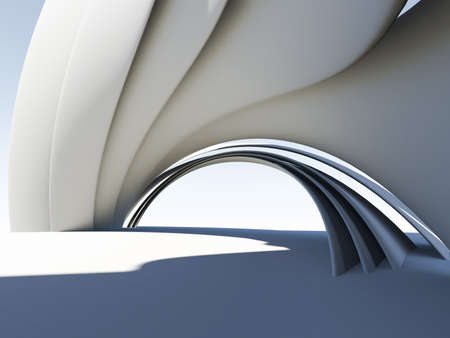 steel bridge: Abstract 3D arch Stock Photo