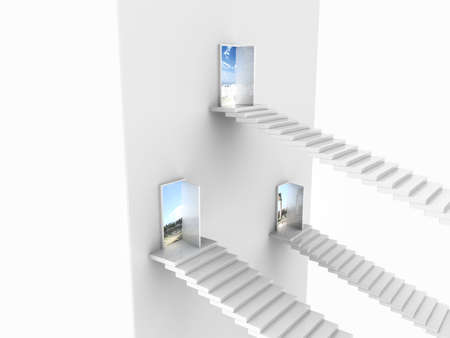 Side view of three white stairs coming up to open doors in a wall with view outside photo