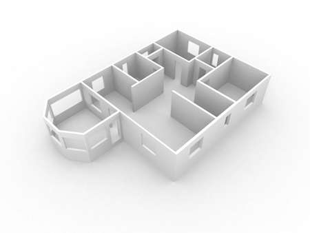 3d model of house first flour walls of neutral color Stock Photo