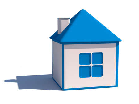 Blue and white 3d house illustration illustration