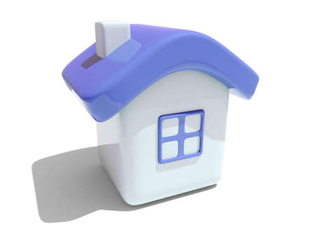 Illustration of an isolated house with blue roof and window on white background  illustration