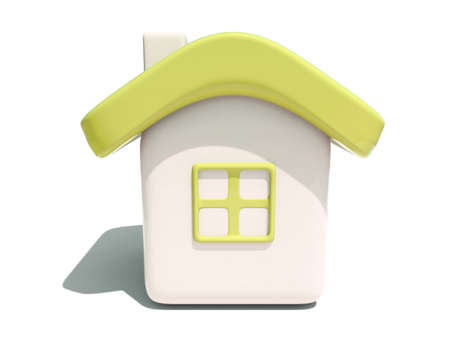 Front view  of an isolated 3d house with yellow roof and window on white background Stock Photo - 5238786