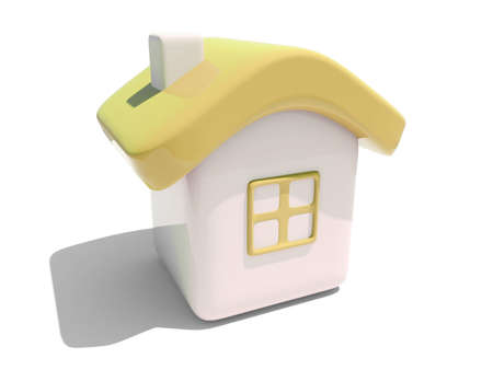 Illustration of an isolated house with yellow roof and window on white background  Stock Photo