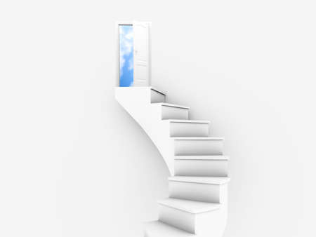 White twisted ladder and opened door with blue sky photo