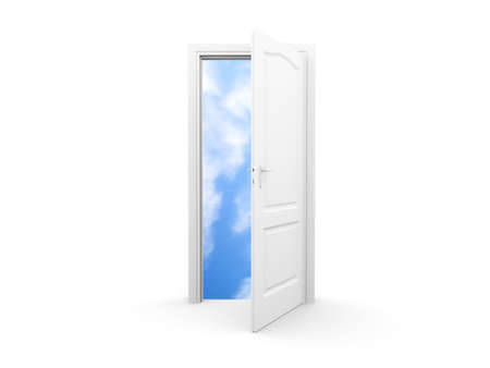 open air: An isolated white door opens new perspectives  Stock Photo