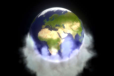 Isolated Earth 3D illustration in dark cosmos over massive gases illustration