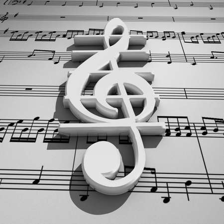 White 3d treble clef with shadow on staff background
