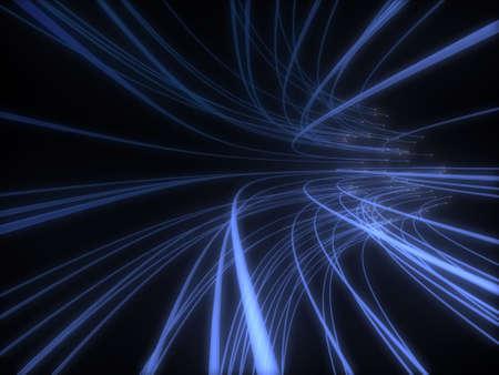 speed line: Mazzo di fibre ottiche dinamic blu che volano da profonde su sfondo nero Archivio Fotografico