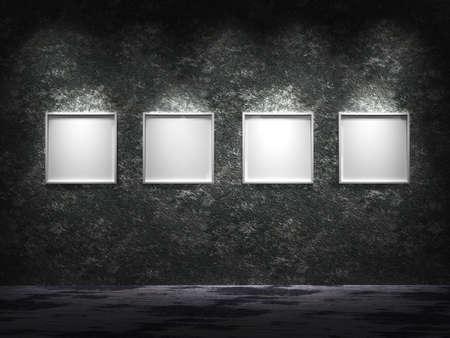 iluminados: Cuatro marcos de vacío en una fila con ellos en la superficie blanca iluminada desde la parte superior de la pared antigua oxidado