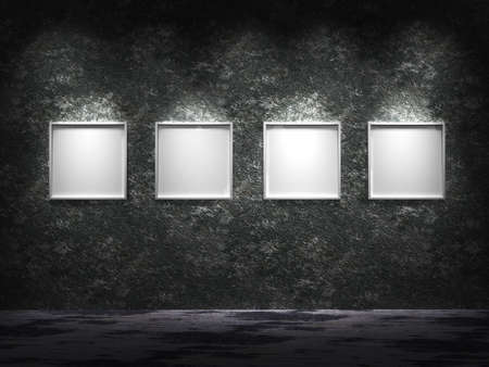 Four empty frames in one row  with white surface in them enlightened from the top on old rusty wall Stock Photo - 5245410