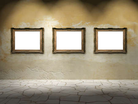 A dark room with gold frames on the wall photo