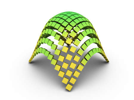 equalization: Green 3D elliptic paraboloid graph on white background