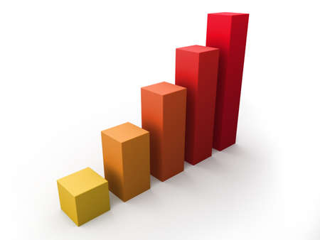 Red growing 3D bar chart  photo