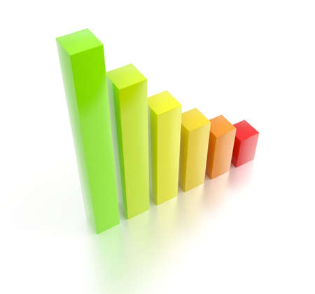 Colorful rising 3d bar chart Stock Photo - 5254630