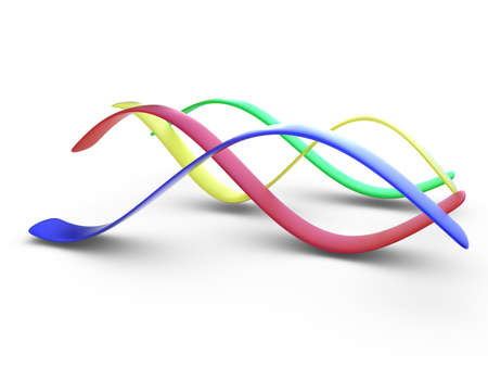 sinusoidal: Four color (blue, red, yellow, green) 3d stripes in form of sinusoidal curves on white background