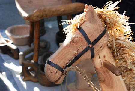 Head of wooden toy horse photo