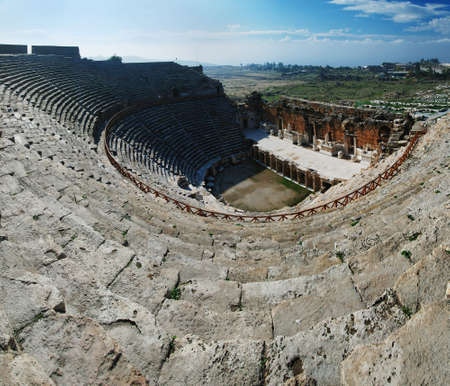 Hierapolis amphitheater wide angle view