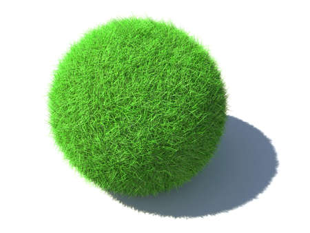An isolated green fluffy ball with shadow laying on a surface on white background Stock Photo - 5277209