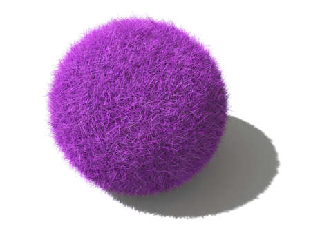 An isolated magenta fluffy ball with shadow laying on a surface on white background Stock Photo - 5277192