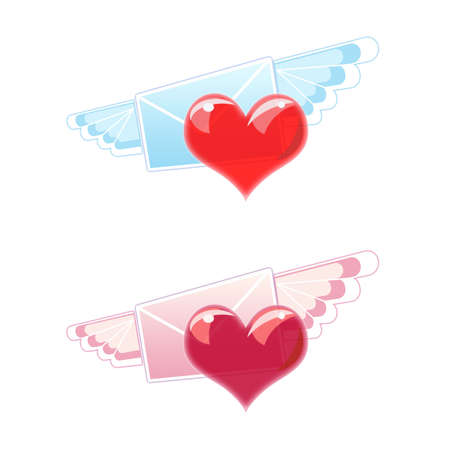 Two love letters of blue and pink colors with wings and heart on white background photo
