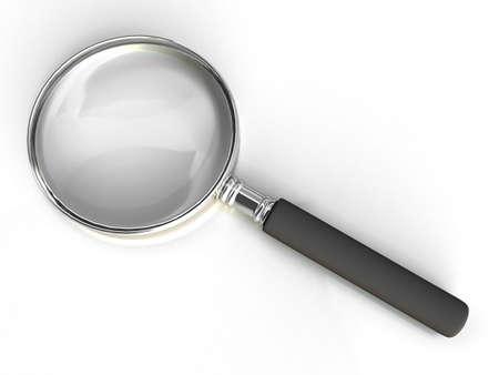 Isolated magnifying glass on white background photo