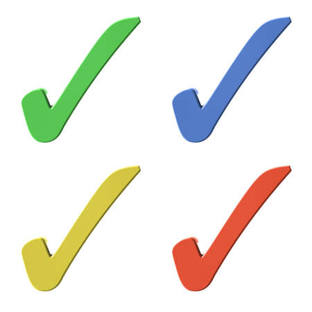 validation: Four color (red, green, blue, yellow) 3D tick signs on white background Stock Photo