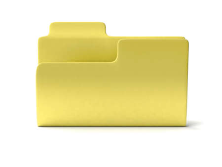 An empty yellow folder with shadow on white background photo