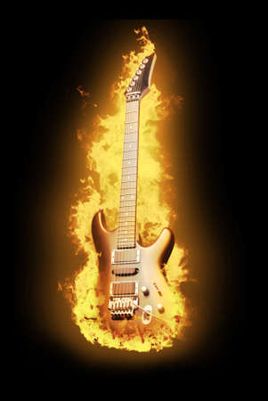 Guitar in flame