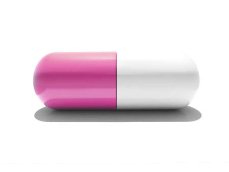 An isolated pink and white capsule on white background