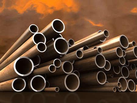 siderurgia: Los tubos de acero en el fondo de nubes atmosf�ricas