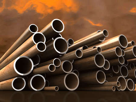 heavy industry: Steel tubes on atmospheric cloud background