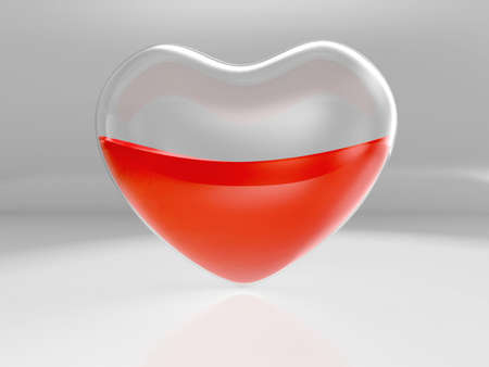 half full: Glass transparent heart half full with blood on gray background