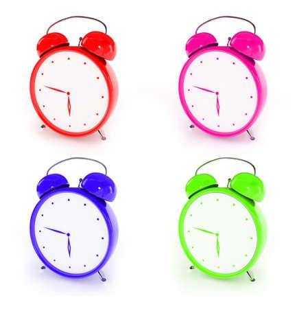 Bright plastic alarm clocks Stock Photo - 5277218