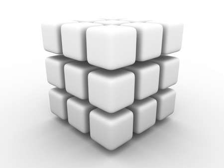 Big monochrome gray cube made of smaller cubes with rounded corners on white background