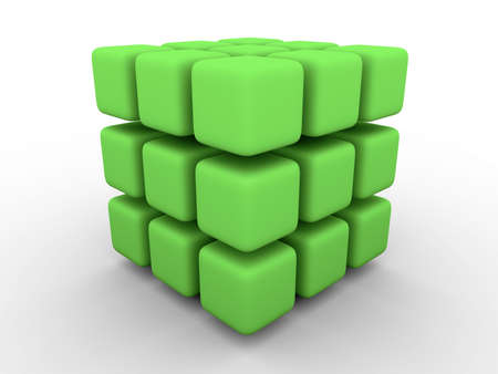 smaller: Big cube made of smaller green cubes with rounded corners on white background