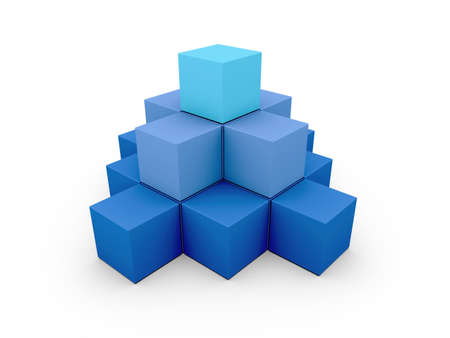 A pyramid made of similar blue boxes on white background photo