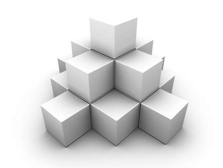A pyramid made of similar gray boxes on white background