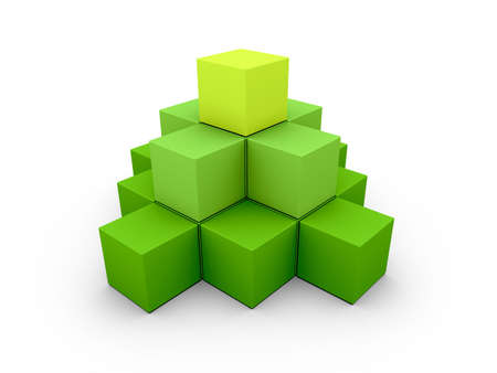 A pyramid made of similar green boxes on white background Stock Photo