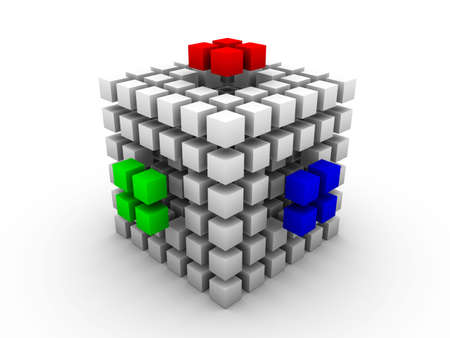 Gray cube made of smaller cubes of same size with three outstanding RGB segments on white background Stock Photo